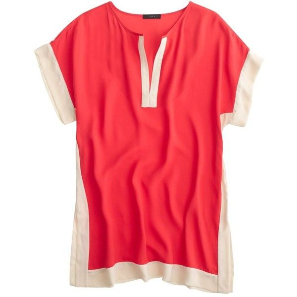 J.Crew Colorblock Beach Tunic (1 260 ZAR) ❤ liked on Polyvore featuring tops, tunics, dresses, summer tops, beach tops, colorblock tunic, color block tunic and block tops