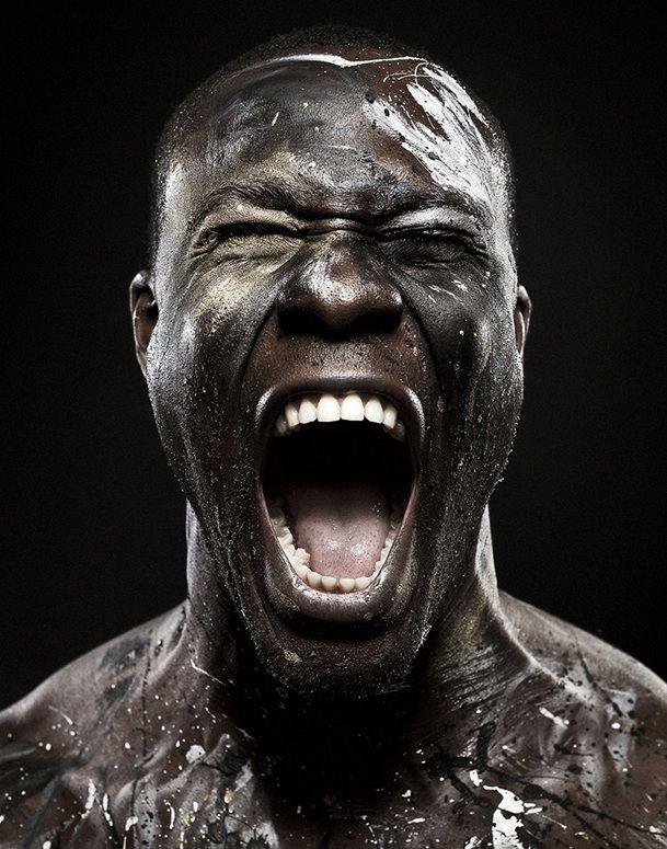 Body Canvas, powerful expression, intense face, emotional, wild, sweatty, anger? portrait, photo b/w.