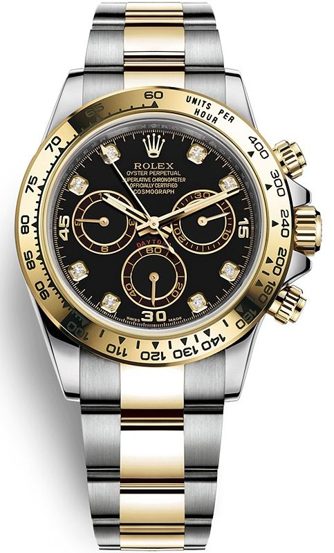 Rolex Oyster Perpetual Cosmograph Daytona Oystersteel and Yellow Gold  Diamond Black Dial 40 mm Men s 2 Tone Bracelet Watch Reference 116503-0008 1cd6af8ee8d