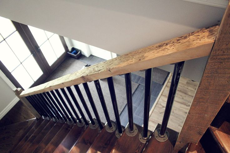 Best Rustic Natural Wood Stair Rail With Steel Pipe Spindles 640 x 480