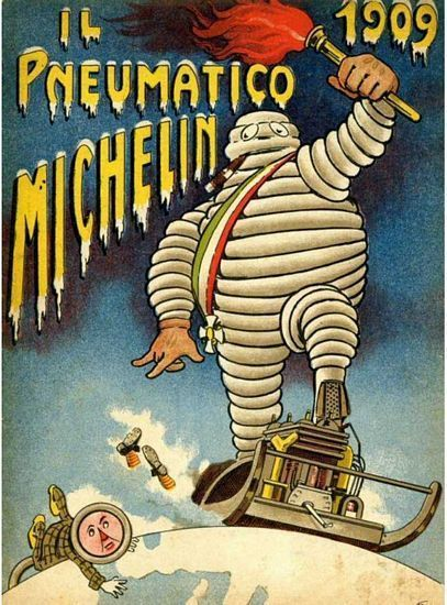 Vintage 1909 Michelin Tyre Advertisement Poster A3 Print