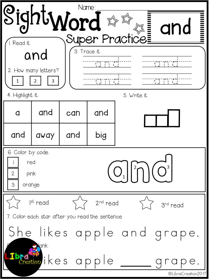 This product includes: * 40 pages of reading the word, count the letter, trace the word, highlight the word, write the word, color by code, read the sentence, fill the blank. Preschool, Preschool Worksheets, Kindergarten, Kindergarten Worksheets, First Grade, First Grade Worksheets, Sight Word, Sight Word Activities, Sight Word Activities The Bundle, Bundle, Sight Word, Sight Word Printables