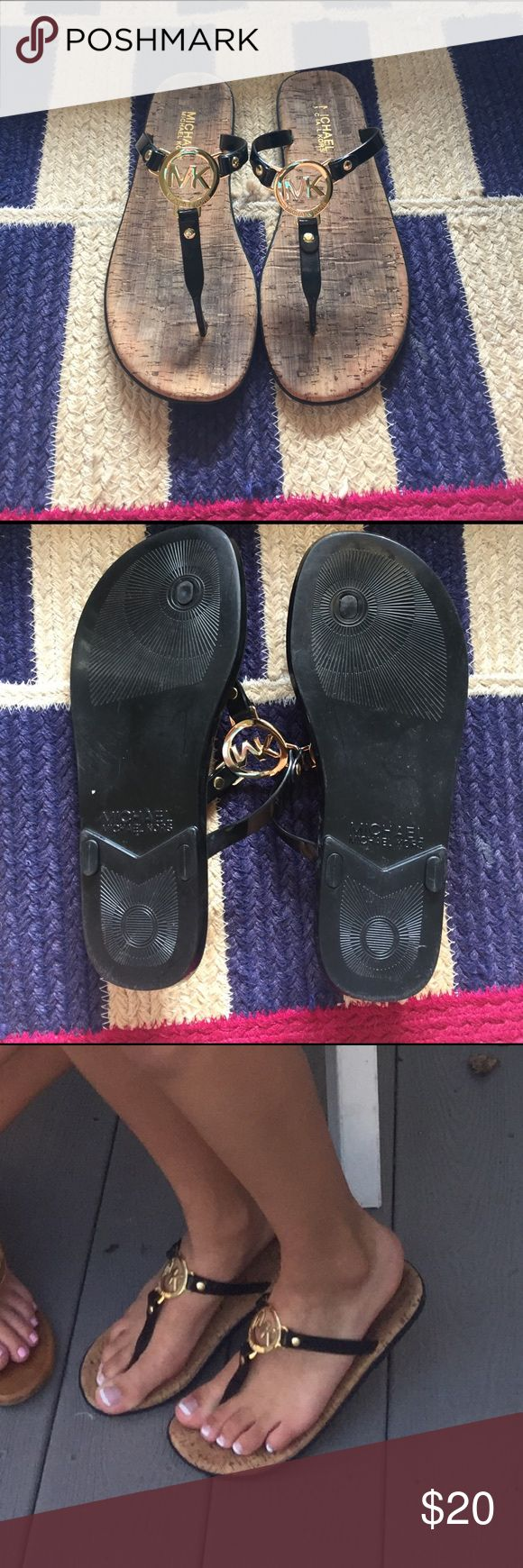 Michael Kors Dressy Flip Flops! These are real Michael Kors flip flops puchased from Nordstrom. Size 8 women's. Great condition, cork is discolored a bit from wear. Feel free to leave offer. MICHAEL Michael Kors Shoes Sandals