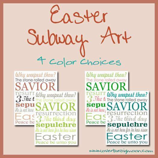 8x10 Easter Subway Art FREE Printable - 4 color choices
