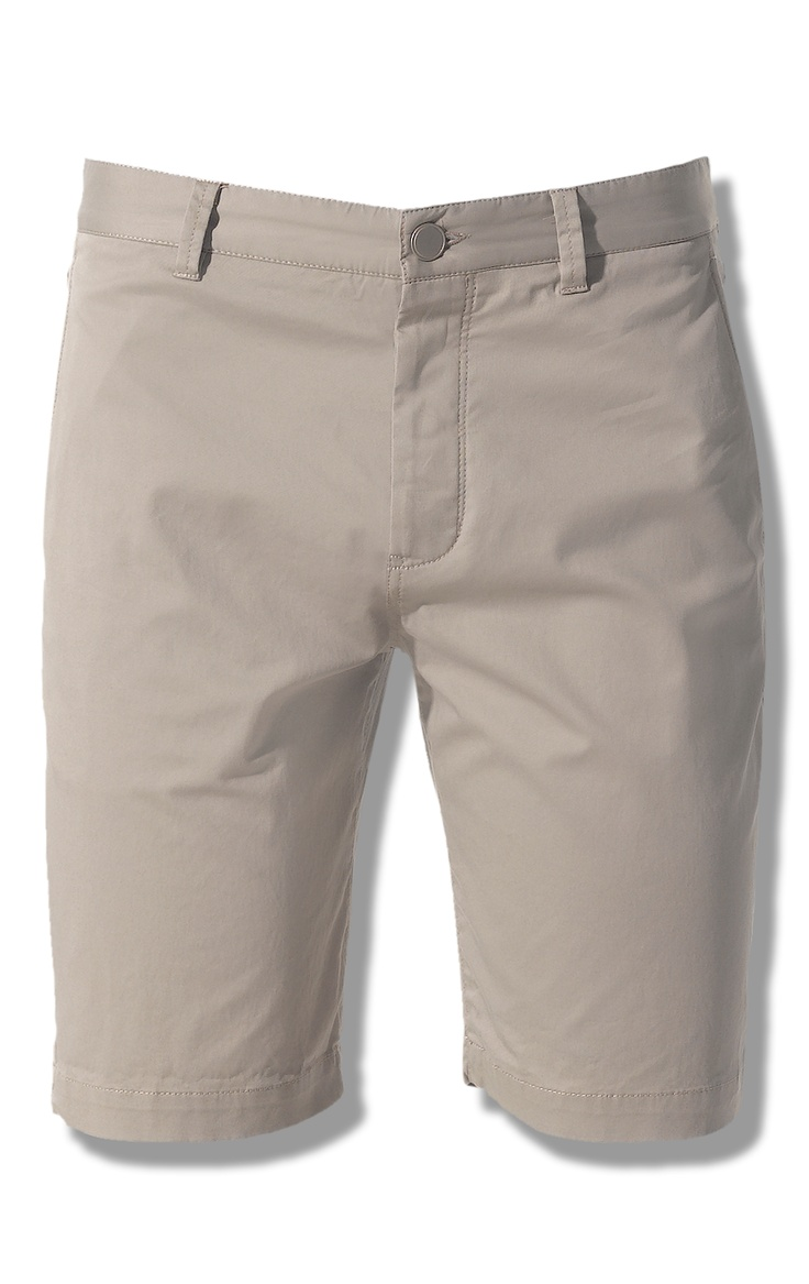 Cotton Straight Shorts, Beige