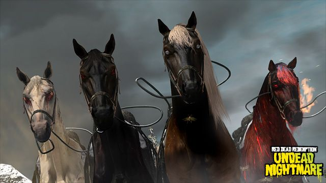 Behold – the Four Horses of the Apocalypse.  Pestilence, Famine, Death, and War. - Mythical Creatures in Undead Nightmare: The Four Horses of the Apocalypse | Rockstar Games