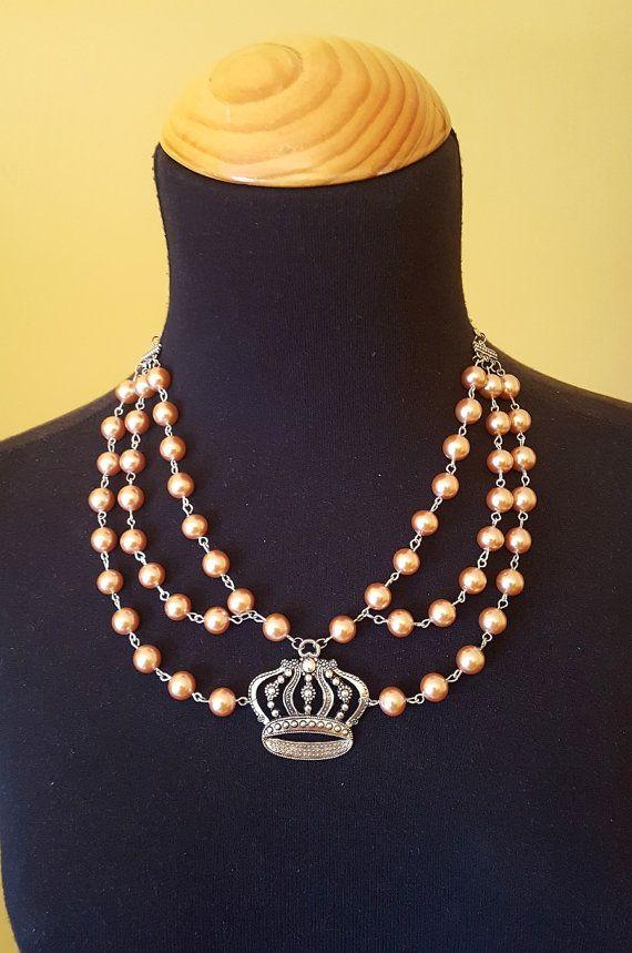 Collar perlas, Collar Vintage, Gargantilla perlas, Collar victoriano, Joyería Victoriana, Regalo para ellas, Collar babero, Joyería perlas