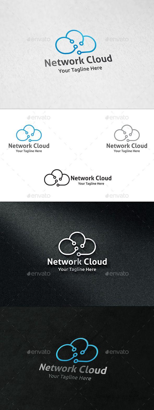 Network Cloud - Logo Template 심플함 파란색 클라우드 선....?