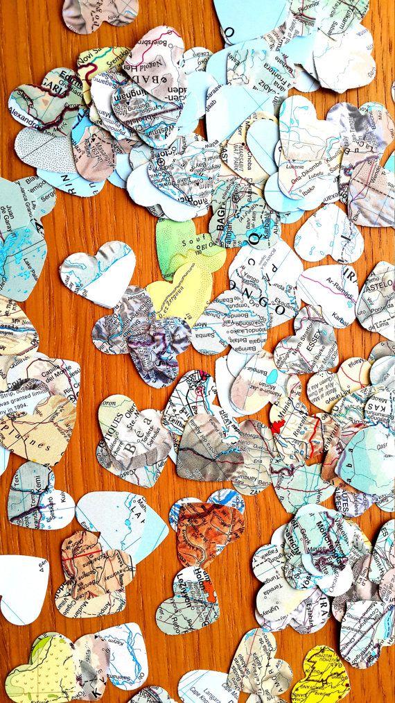300  World Atlas  Confetti Shapes - Bonvoyage  Paper Shapes - Travel Themed Wedding Paper Hearts Confetti- Atlas Party Table Decor