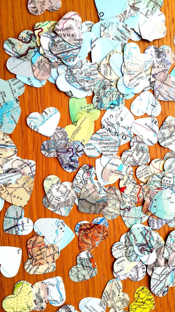 300  World Atlas  Confetti Shapes - Bonvoyage  Paper Shapes - Travel Themed Wedding Paper Hearts Confetti- Atlas Party Table Decor