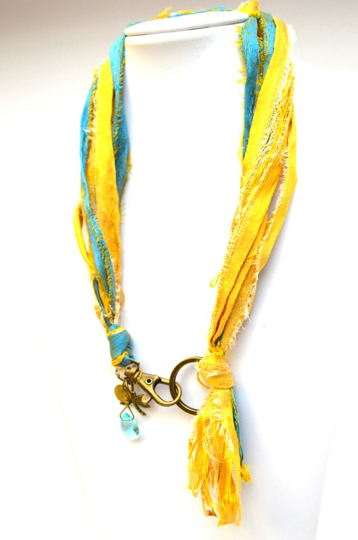 Short Necklaces : Blue Gold Silk Ribbons -Dragonfly Necklace  Get it @ www.freeartstyle.com