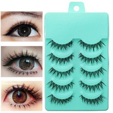 5 Pairs Natural False Eyelashes Eyelash Soft Long Handmade Makeup Eye Lash
