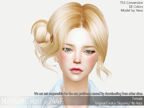 Female loose side bun hair for The Sims 4