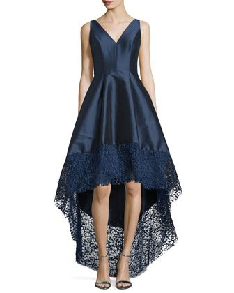 Sleeveless High-Low Midi Cocktail Dress  by ML Monique Lhuillier at Neiman Marcus.