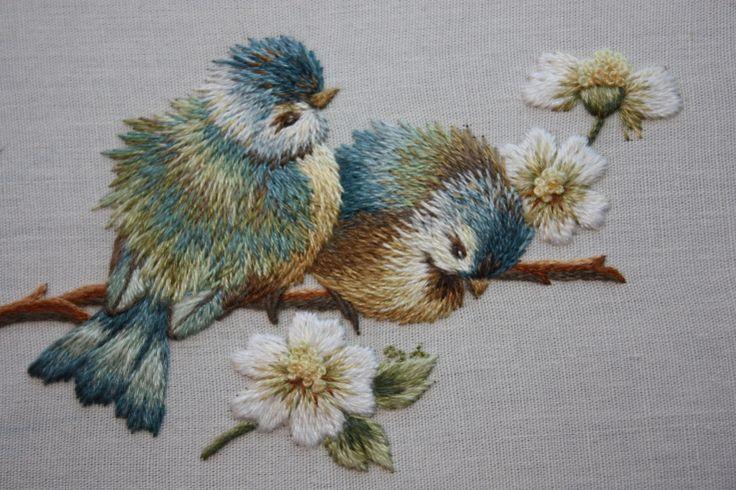 Bluebirds & Daisies by Trish Burr