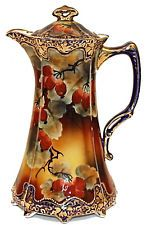 Antique Nippon Chocolate Pot Hand Painted Cranberries Gold Overlay C. 1891 VGC