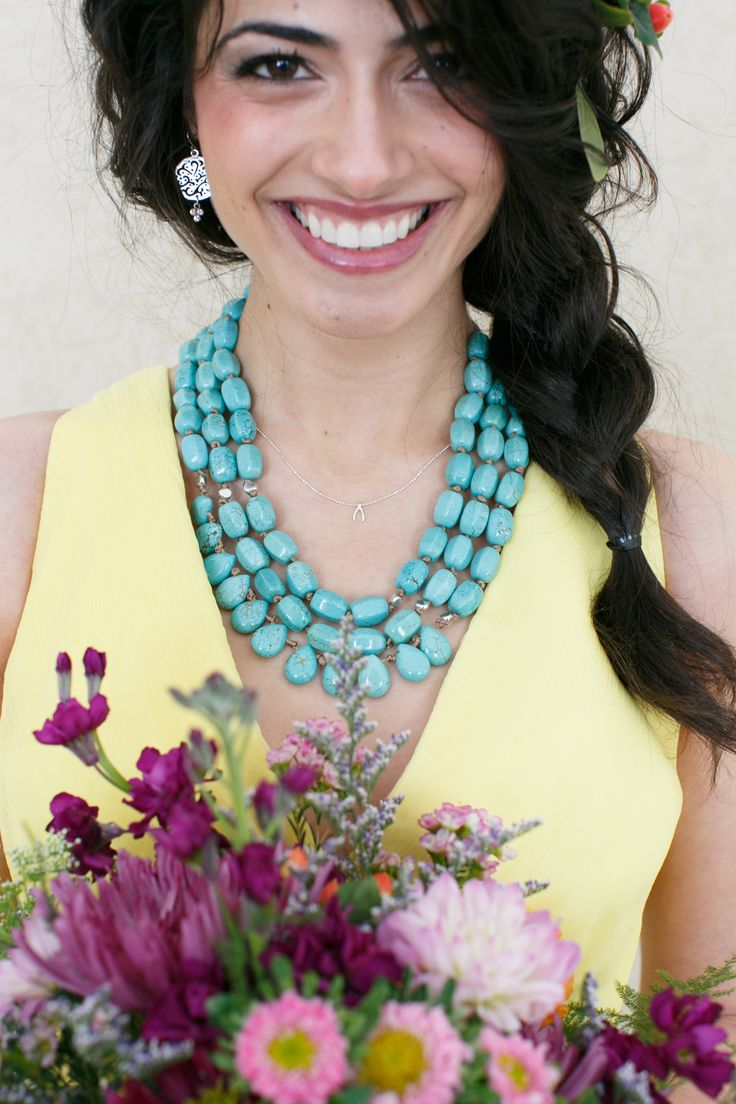 For your #bohemian bridesmaid - #turquoise looks great with yellow! #wedding