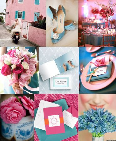 pastel blue and pink wedding inspiration board