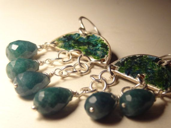 GREEN EMERALD Unici originali orecchini chandelier di Cuorerosso, €150,00