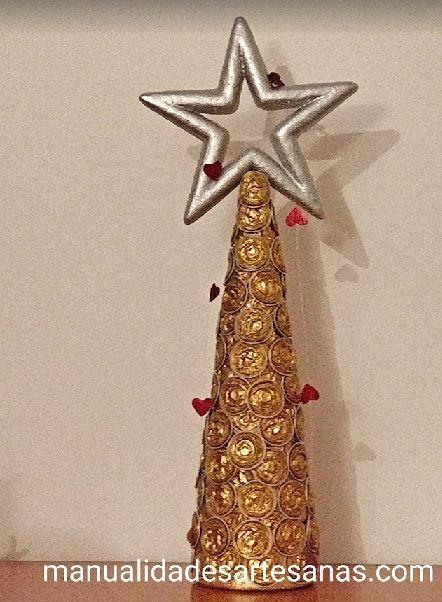 Cómo hacer #árbol de #Navidad con #cápsulas #nespresso chafadas paso a paso  #HOWTO #DIY #artesanía #manualidades #reciclaje
