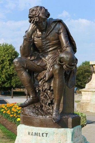 Statue of Hamlet in Bancroft Gardens, Stratford-upon-Avon, Warwickshire, England, UK
