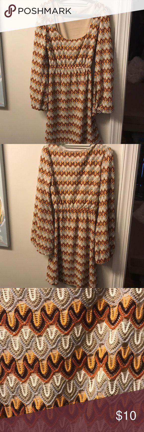 Judith March crochet knit dress, beige liner Judith March, size large crochet knit dress with beige liner, elastic bell sleeves Judith March Dresses