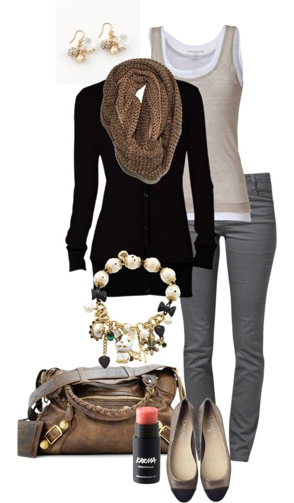 """""""Gray, Black & Taupe"""" by simple-wardrobe on Polyvore with boot instead of flats"""