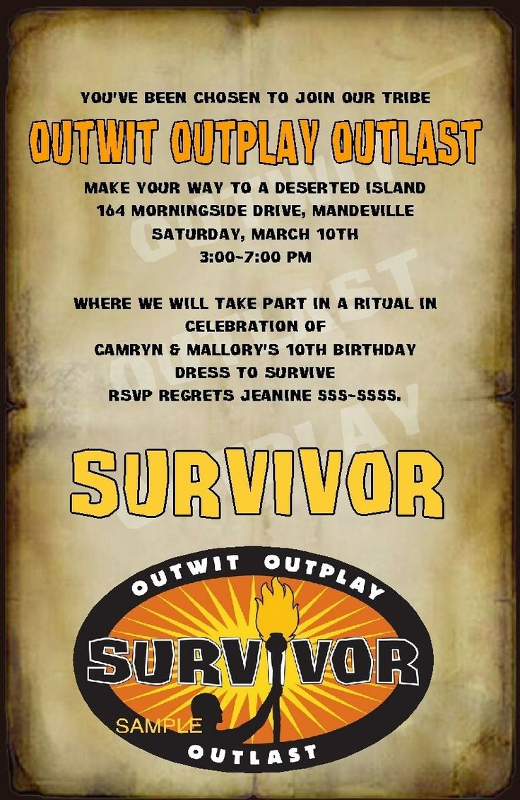 Custom Survivor Party Invitations | eBay