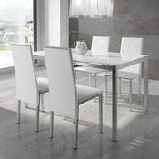 Pieds chaises et table : métal Plateau table à manger : verre trempé Revêtement chaises : PVC Dimensions table : Longueur : 140 cm Largeur : 90 Hauteur : 75 ...