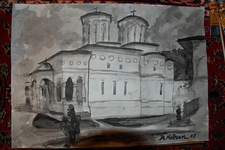 https://flic.kr/p/EATwLY | Mănăstirea Hurezi - Ctitoria Sfantului Domnitor Constantin Brâncoveanu | tuş pe hartie A3