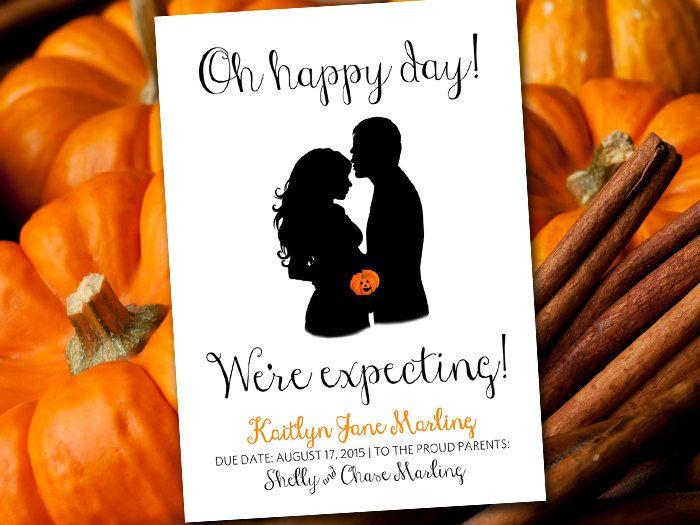 """Pumpkin Baby Announcement Template - Printable Baby Announcement Card """"Expecting"""" Pregnant Woman Silhouette - Halloween Baby Announcement by PaintTheDayDesigns on Etsy"""