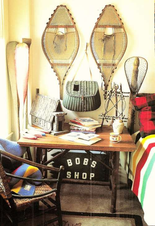 Hudson Bay Blankets..Snow Shoes..Fishing Gear..Just love this vignette...