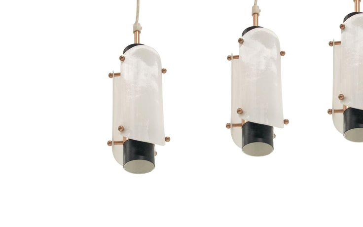 Set of Three Scandinavian Ceiling Pendant in Steel, Copper and Plexi, 1960s | From a unique collection of antique and modern chandeliers and pendants at https://www.1stdibs.com/furniture/lighting/chandeliers-pendant-lights/