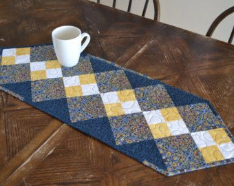 Blue Patchwork Quilted Table Runner Double Four Patch Yellow