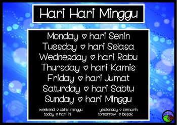 Days of the Week poster https://www.teacherspayteachers.com/Product/Days-of-the-Week-poster-DISPLAY-in-bahasa-Indonesia-LOTE-chart-Indonesian-2568359