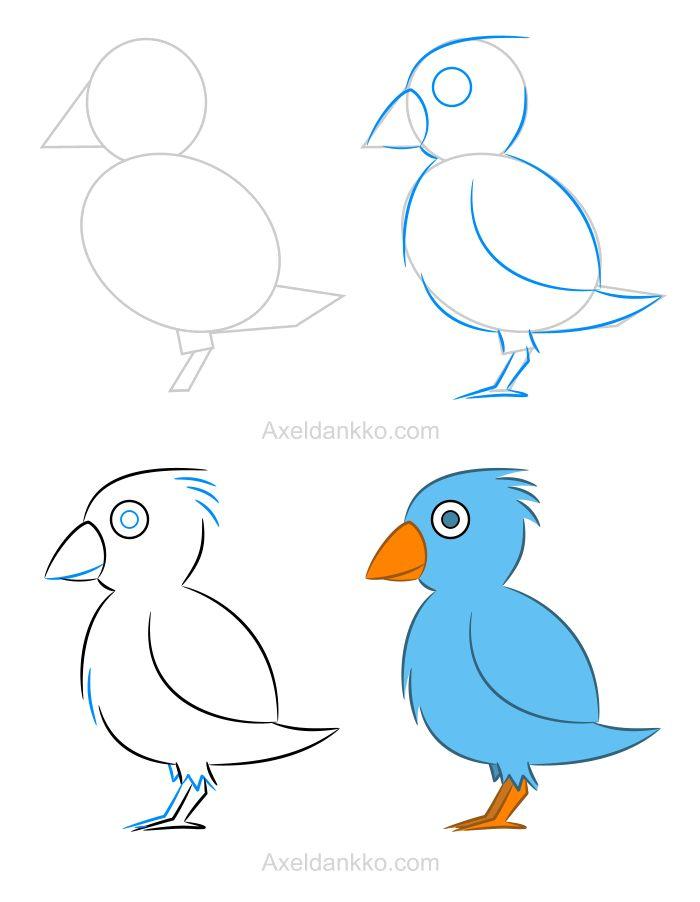 Les 25 meilleures id es de la cat gorie comment dessiner un oiseau sur pinterest comment - Idee de dessin facile ...