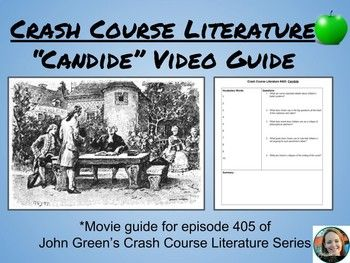 """This guide goes along with John Green's (yes, that John Green) episode of Crash Course Literature about """"Candide"""" (episode 405). It is designed to help students make sense and organize fast-talking John Green's ideas about Voltaire's novel. The guide is organized in the Cornell Notes format, with a vocabulary, questions, and summary section."""