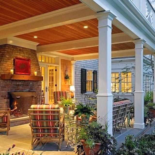 Shingle siding stamped concrete nice ceiling exteriors for Outdoor porches and patios