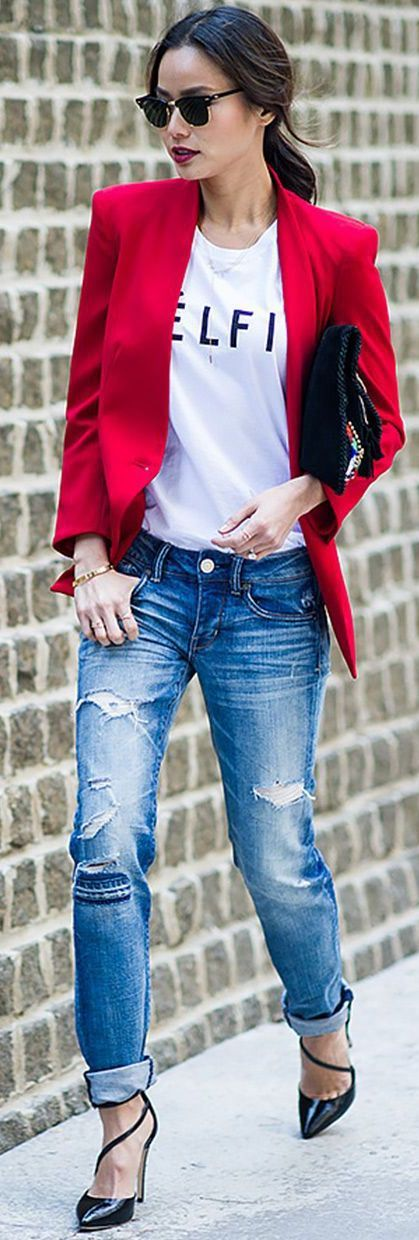 need a red jacket!! denim fashion - street style - Jamie Chung With a White Celfie Tee