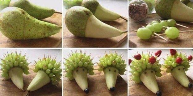Ricci con la pera e l'uva