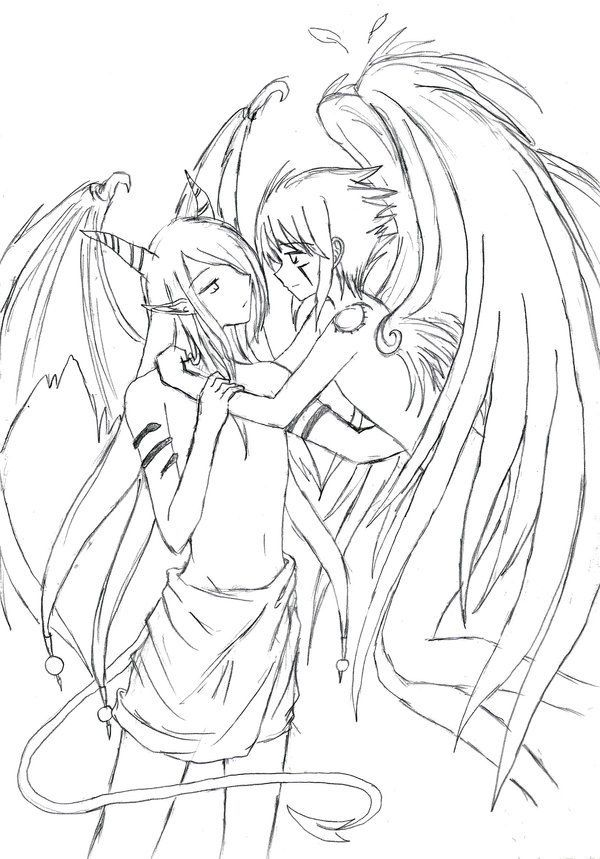 15 Demon Lineart Couple For Free Download On Ayoqq Org Demon Drawings Anime Drawings Boy Fox Coloring Page