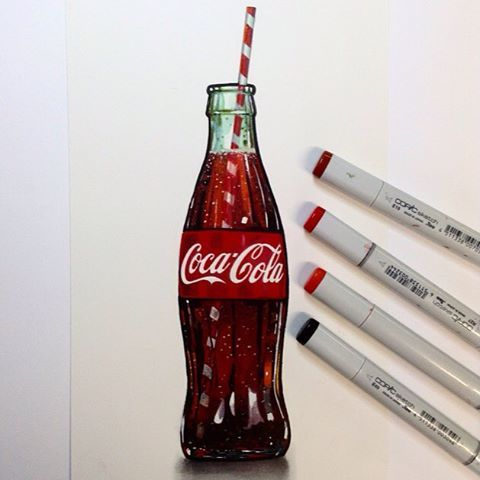This Coca Cola made me thirsty the whole time I was drawing it! #Copic #Markers #Realism