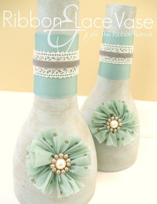 Ribbon and Lace Vase - The Ribbon Retreat Blog