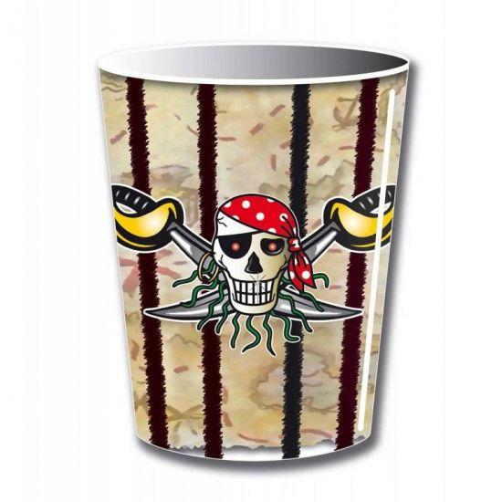 Bekers piraat. 8 stuks piraten bekers voor een kinderfeestje. Inhoud: 250 ml. Materiaal: karton. Piraten feestartikelen in vele varianten.