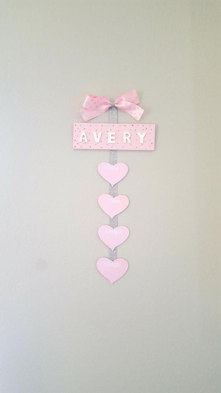 Door Hanger Girl, Hospital Door Hanger Girl, Girls Name Avery, Birth Information, Baby Door Hanger, Hospital Door Sign, Nursery Door Hanger by AaliyahsLetters on Etsy www.aaliyahsletters.com