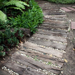 Rustic sleeper path. plants at the edge of the path...