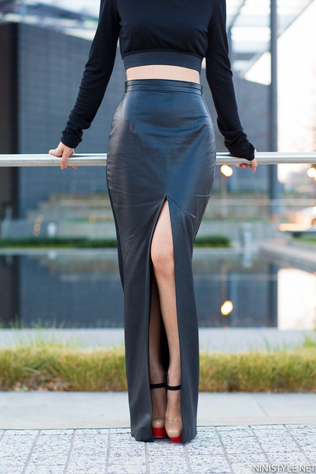 Black PU Leather Sexy Bodycon Slim Open Slide Autumn Womens Skirts 2017 High Waist Maxi Long Office Pencil Skirt Plus Size - MISS LADIES