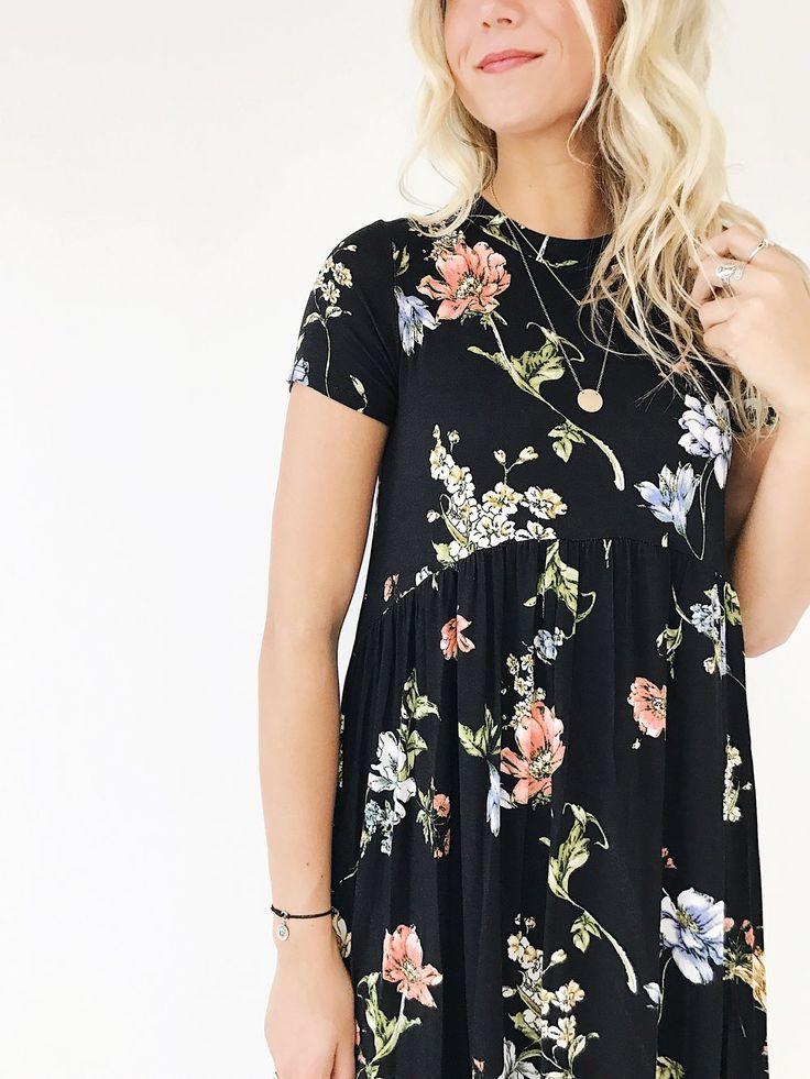 Black Floral Midi Dress   ROOLEE