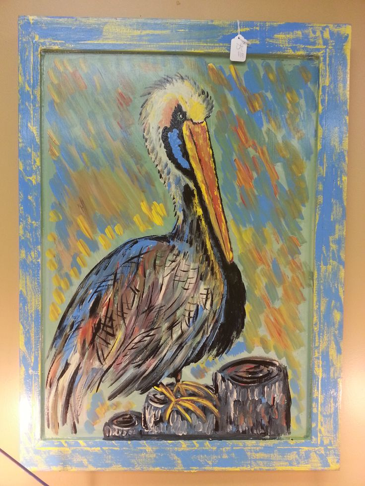 Hand painted Pelican on Antique Window
