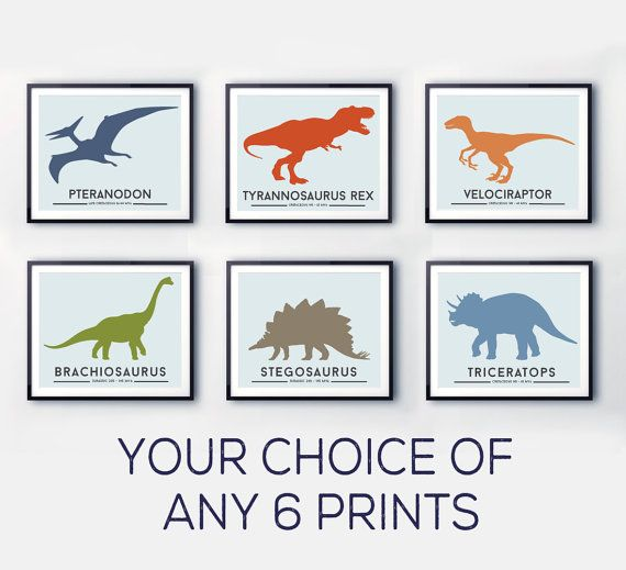 Dinosaur nursery prints colourful wall art by LittleGrippersStore